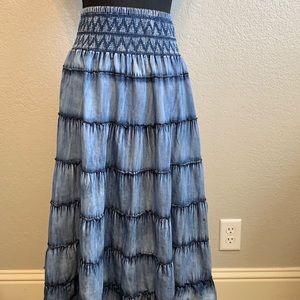 Soft Surroundings chambray layered long skirt PXS